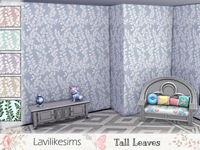 Sims 4 Tall Leaves wallpaper by lavilikesims at TSR