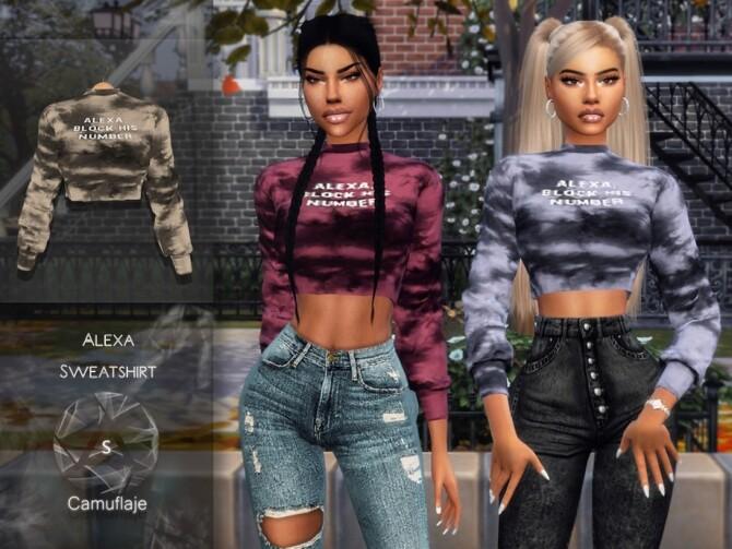 Sims 4 Alexa Sweatshirt by Camuflaje at TSR