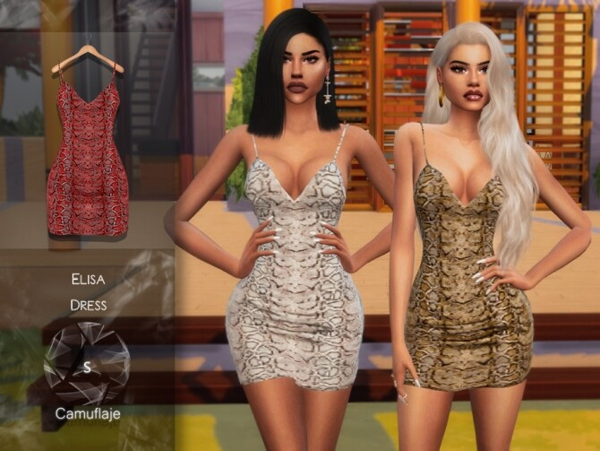 Sims 4 Elisa Dress by Camuflaje at TSR