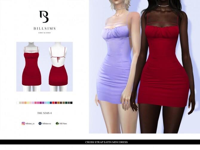 Sims 4 Cross Strap Satin Mini Dress by Bill Sims at TSR