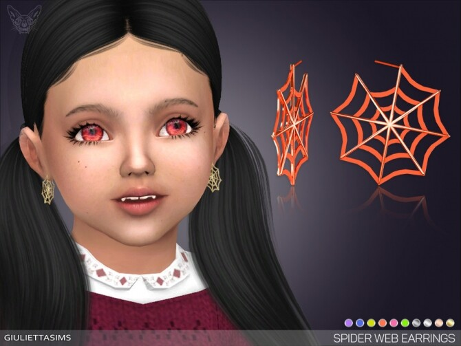 Spider Web Earrings For Toddlers by feyona at TSR image 638 670x503 Sims 4 Updates
