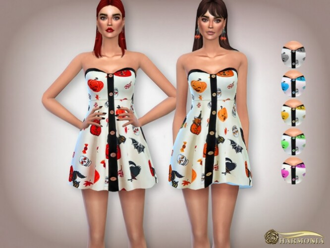 Halloween Pumpkin Print Mini Dress by Harmonia