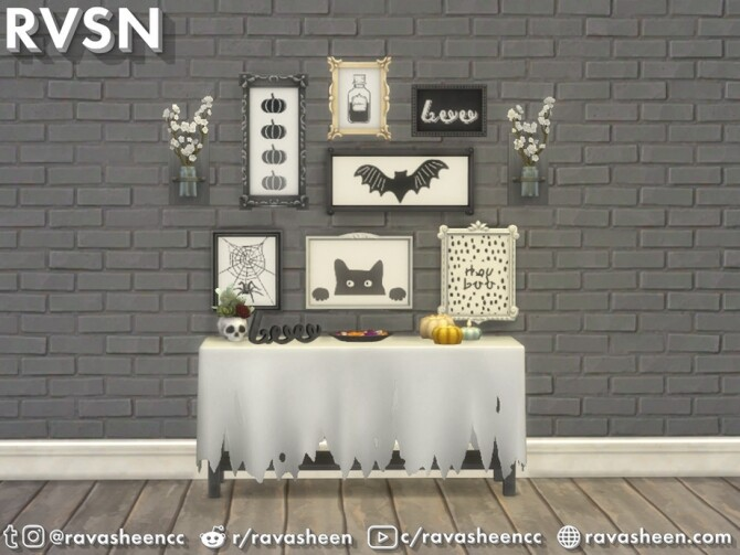 Sims 4 Fab boo lous Halloween Wall Art by RAVASHEEN at TSR