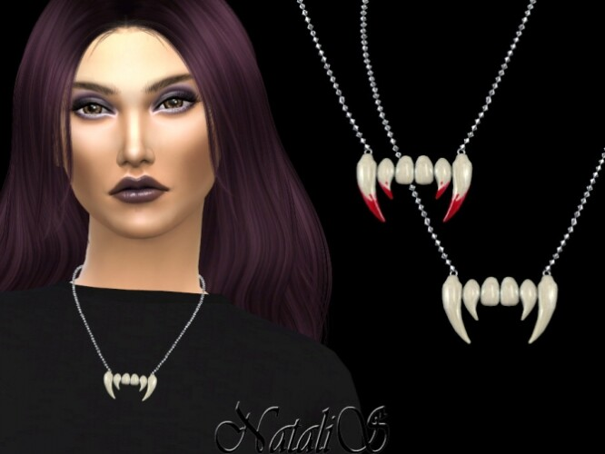 Vampire teeth necklace by NataliS