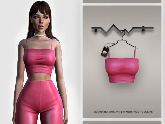 Sims 4 Leather SET 90 TOP BD341 by busra tr at TSR