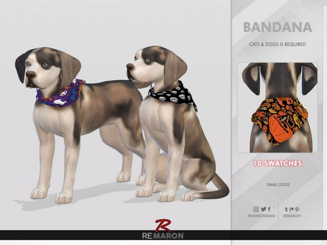 Sims 4 Halloween Bandana for Small Dogs 01 by remaron at TSR