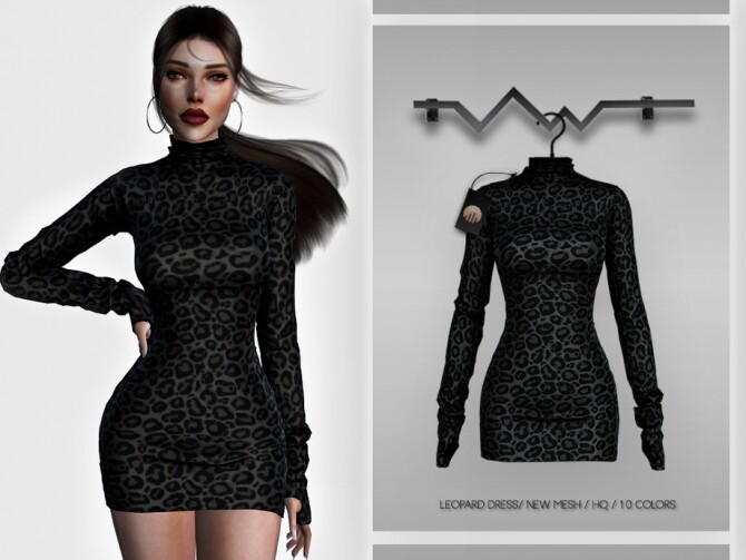 Sims 4 Leopard Dress BD347 by busra tr at TSR