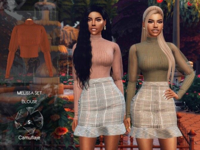 Sims 4 Melissa Set Blouse by Camuflaje at TSR
