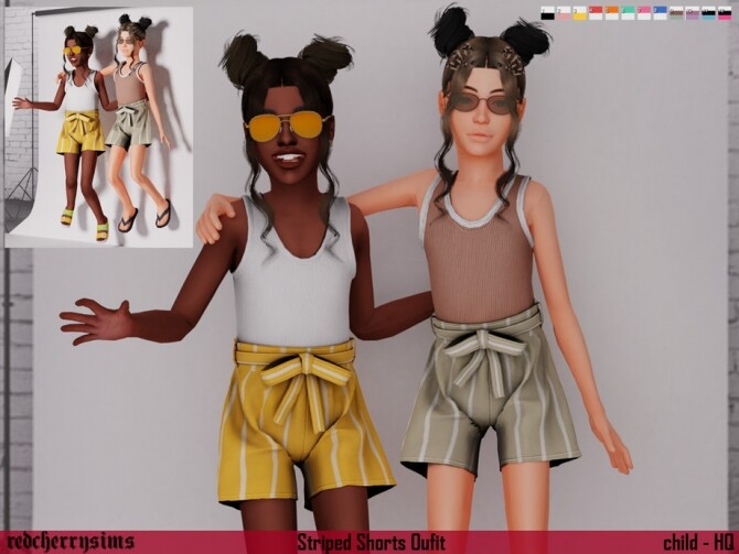 Sims 4 Striped Shorts Outfit by redcherrysim at TSR