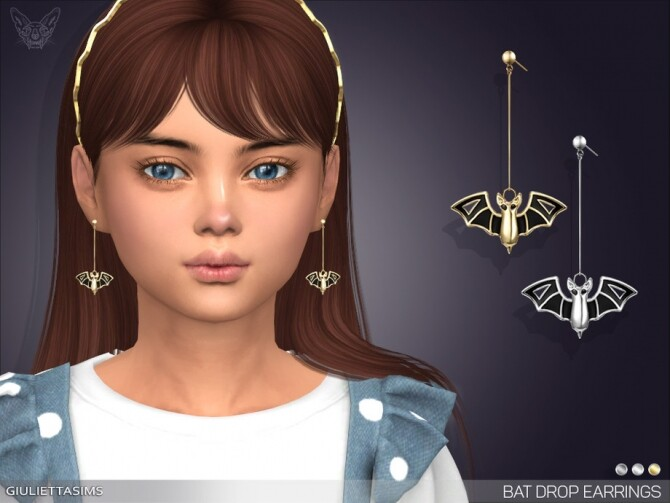 Bat Drop Earrings For Kids by feyona at TSR image 6814 670x503 Sims 4 Updates