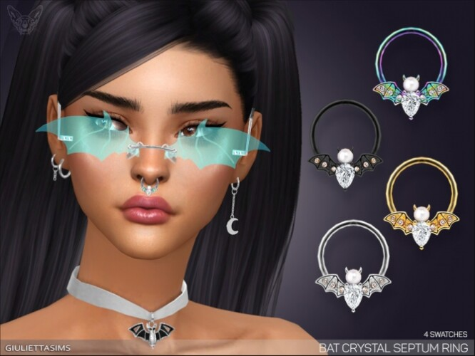 Bat Crystal Septum Nose Ring by feyona