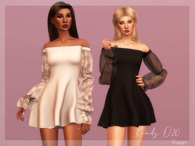 Sims 4 Off Shoulder Dress DR358 by laupipi at TSR