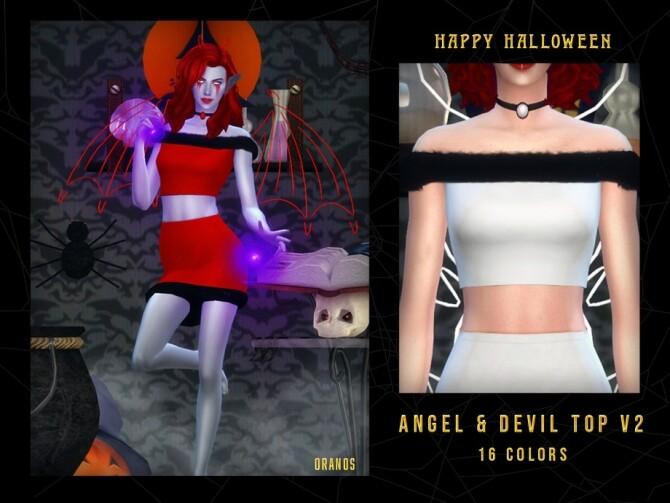 Sims 4 Angel & Devil Top V2 by OranosTR at TSR