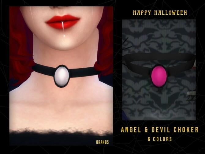 Sims 4 Angel & Devil Choker by OranosTR at TSR