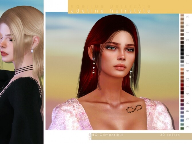 Sims 4 Adeline Hairstyle by DarkNighTt at TSR