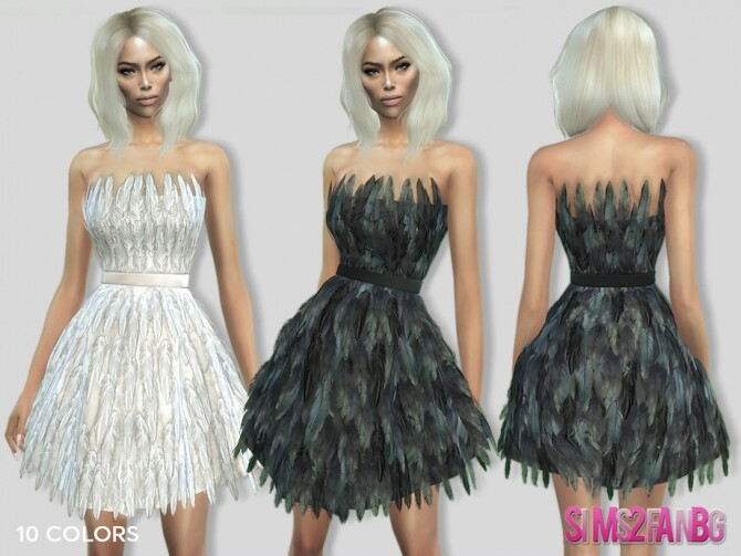Sims 4 307 Feather Dress by sims2fanbg at TSR