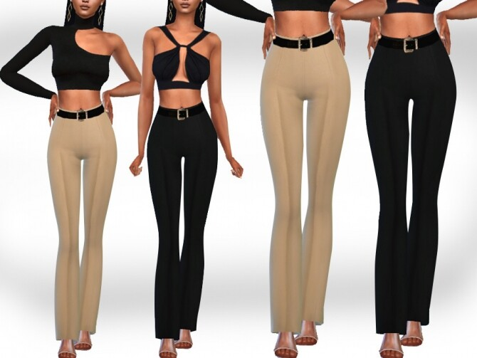 Sims 4 Cotton Trousers with Belt by Saliwa at TSR