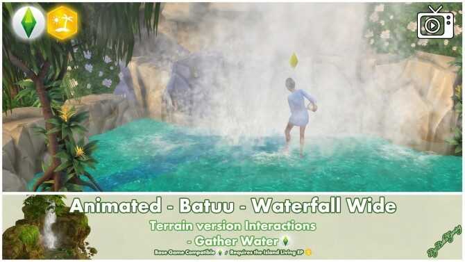 Sims 4 Animated Batuu Waterfall Wide by Bakie at Mod The Sims