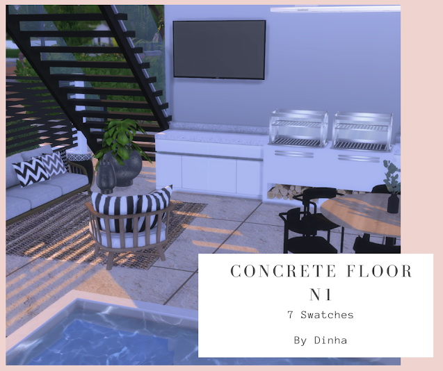 Sims 4 Concrete Floor N1   7 Swatches at Dinha Gamer