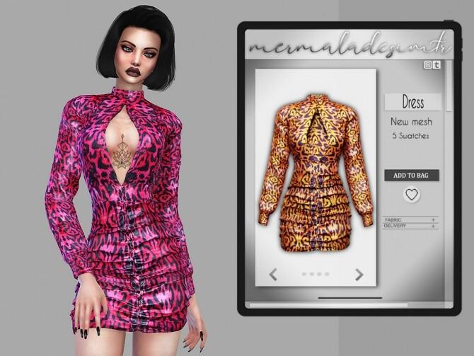 Sims 4 Leopard Print Bodycon Dress MC90 by mermaladesimtr at TSR