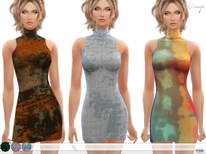 Ribbed Tie Dye Mini Dress by ekinege