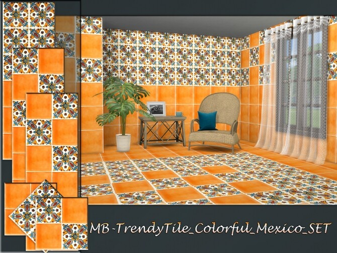 Sims 4 MB Trendy Tile Colorful Mexico SET by matomibotaki at TSR