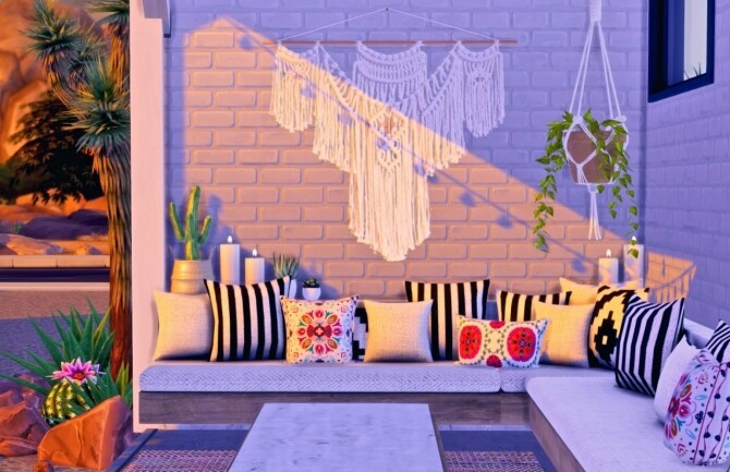 Sims 4 Westwing Collection Throw Pillows and Rug at Sooky