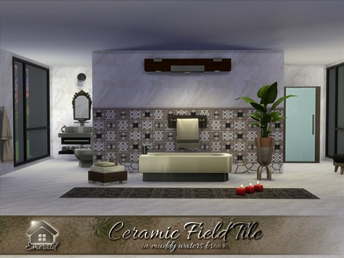 Sims 4 Ceramic Field Tile in muddy waters brown by emerald at TSR