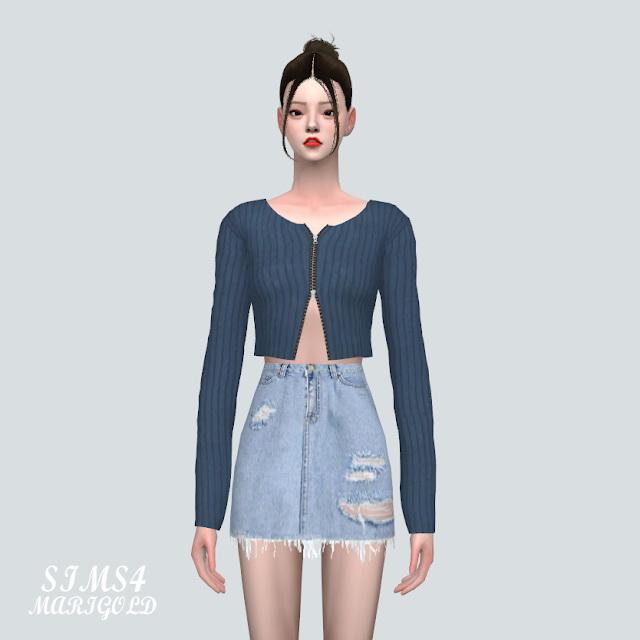 Sims 4 Knit Crop Cardigan JJJ at Marigold