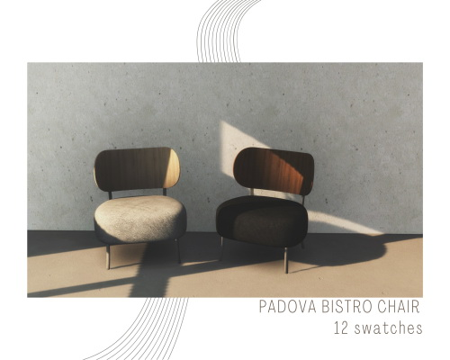 Sims 4 Sofa, wood & concrete table + bistro chair at Sundays Sims