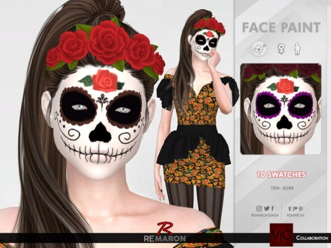 Halloween Mexican Skull Face Paint 01 by remaron