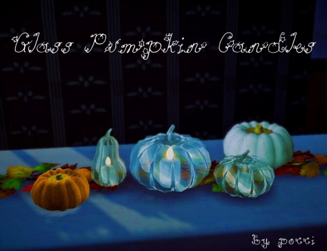 Sims 4 Glass Pumpkin candles by Pocci at Garden Breeze Sims 4