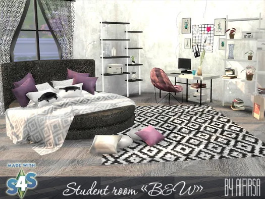 Sims 4 B&W student room at Aifirsa