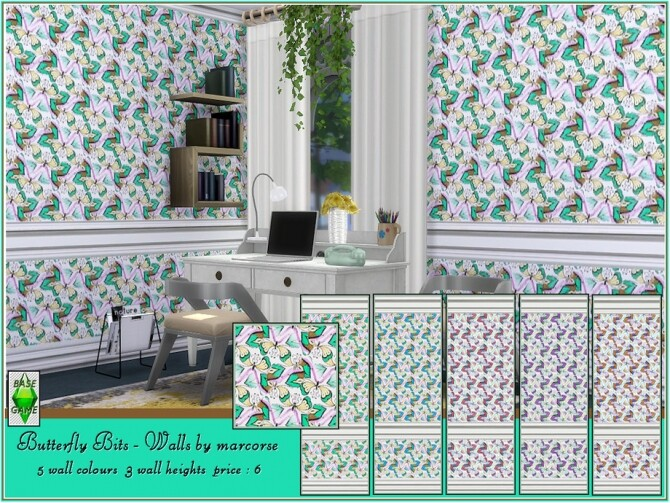 Sims 4 Butterfly Bits Walls by marcorse at TSR