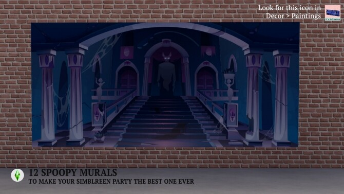 Sims 4 12 Spooky Mural Recolors by ImSuanne at Mod The Sims
