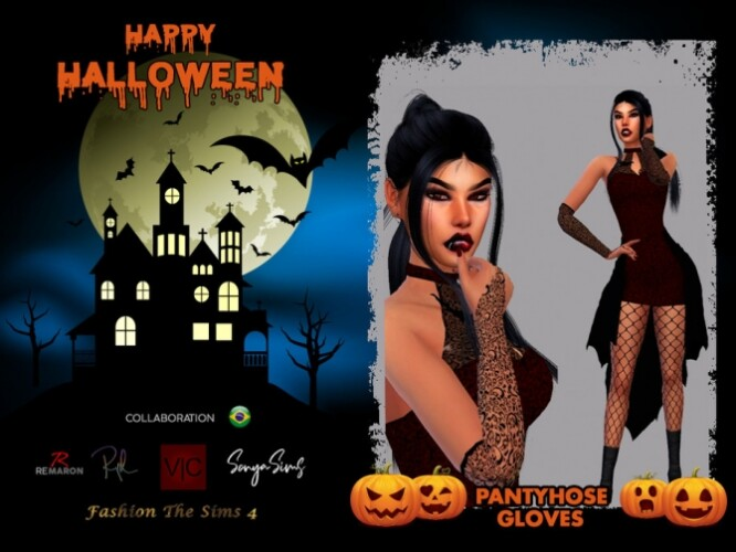 Halloween Vampire Pantyhose and Gloves by LYLLYAN