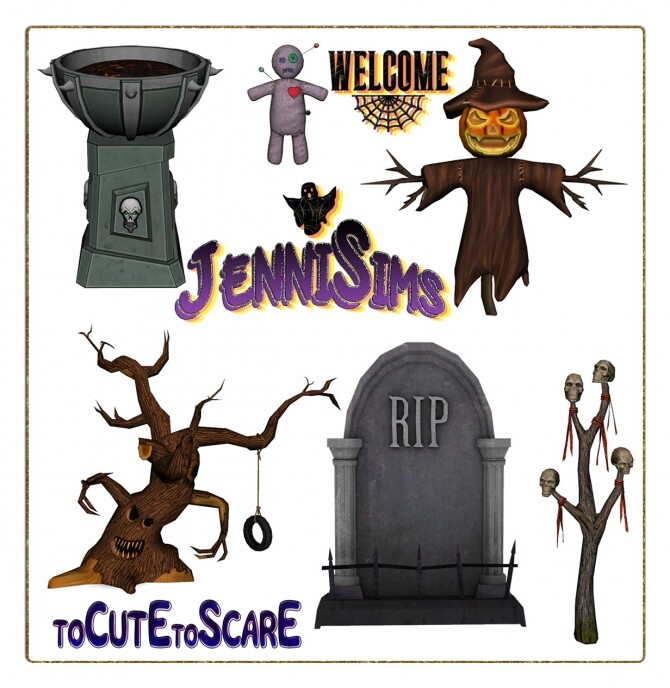 Sims 4 DECORATIVE HALLOWEEN To Cute To Scare 6 ITEMS at Jenni Sims