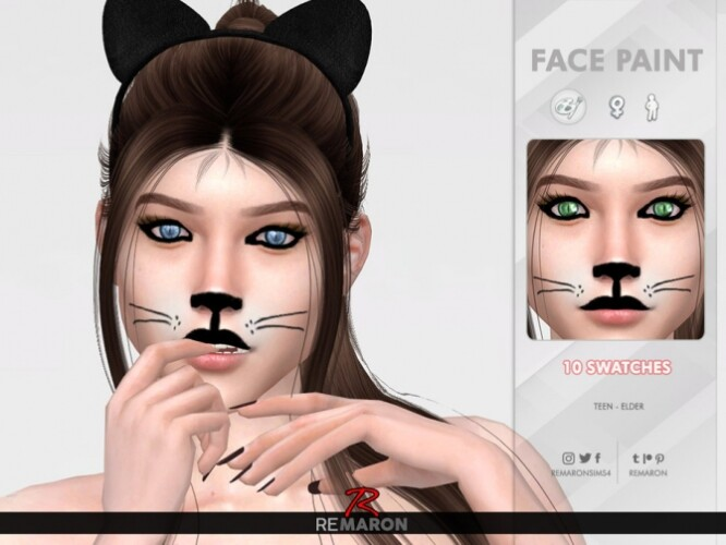 Halloween Cat Face Paint 01 by remaron