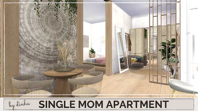 Sims 4 SINGLE MOM APARTMENT at Dinha Gamer
