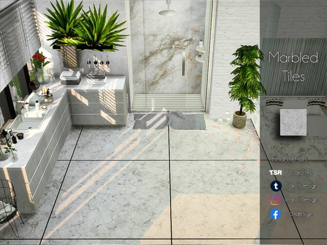 Sims 4 Marbled Tiles by Caroll91 at TSR