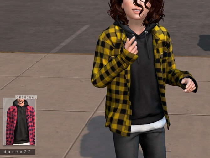 Sims 4 Open Shirt Hoodie by Darte77 at TSR