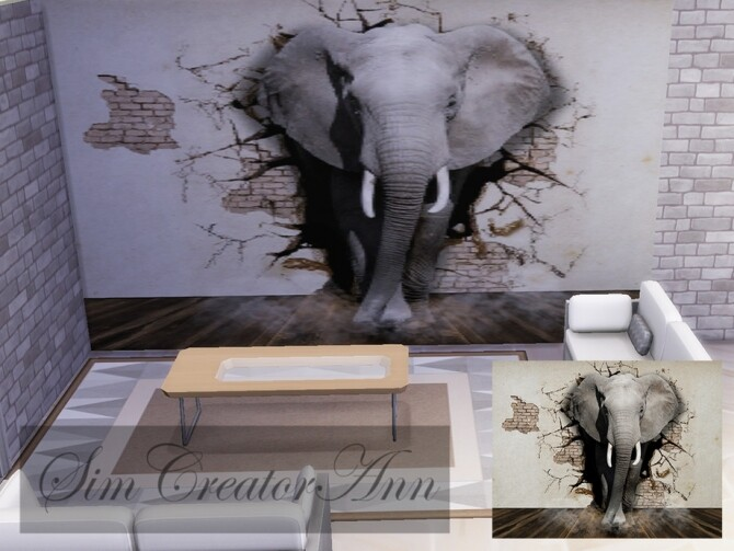 Sims 4 Elephant Mural by Sim Creator Ann at TSR