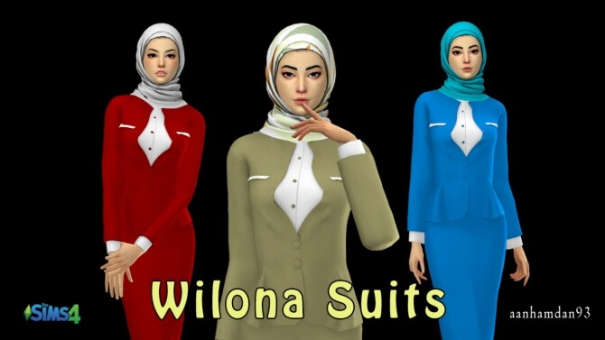 Sims 4 Hijab Model077 & Wilona Suits at Aan Hamdan Simmer93