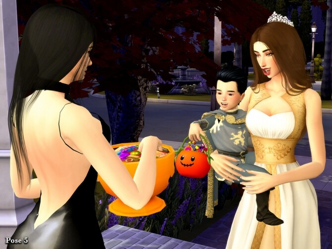 Sims 4 Adorable Halloween Pose Pack by Beto ae0 at TSR
