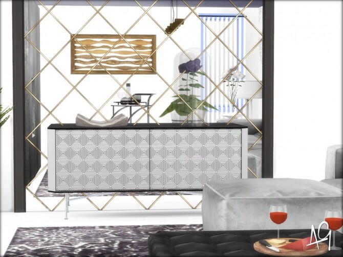 Sims 4 Romantic Living Room by ALGbuilds at TSR