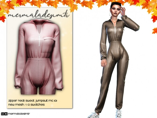 Sims 4 Zipper Neck Sweat Jumpsuit MC101 by mermaladesimtr at TSR