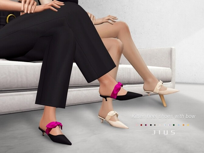 Sims 4 Kitten heel shoes with bow 01 by Jius at TSR