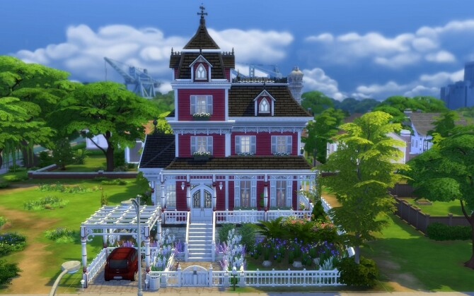 Sims 4 The Little Red Victorian Home by alexiasi at Mod The Sims