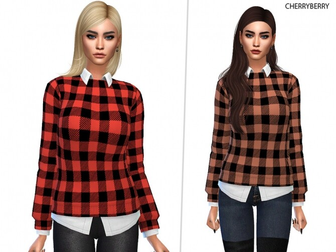 Sims 4 Preppy Plaid Sweater by CherryBerrySim at TSR