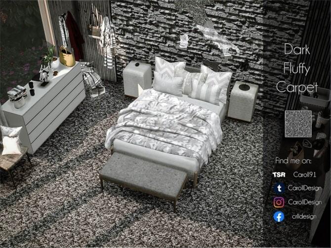 Sims 4 Dark Fluffy Carpet by Caroll91 at TSR